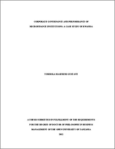 Corporate Governance and Performance of Microfinance